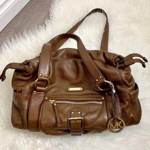 Michael Kors brown leather side drawstrings bag
